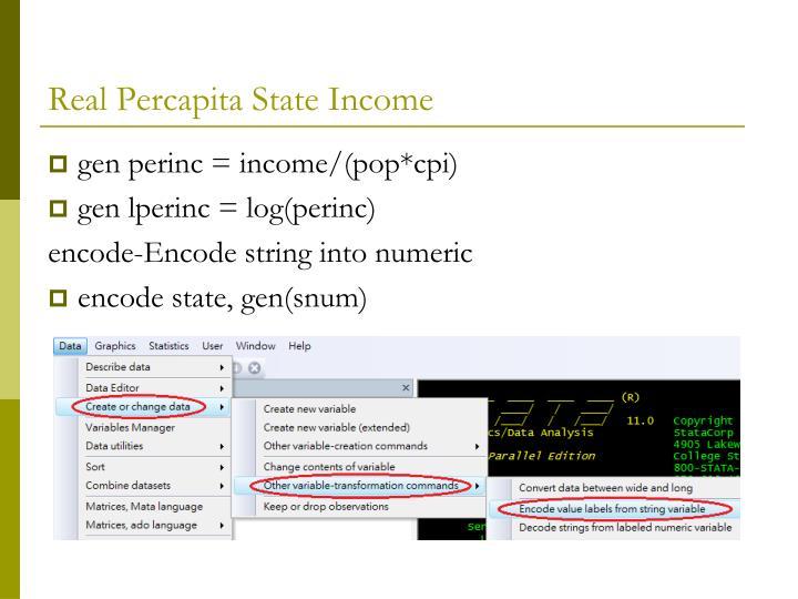 Real Percapita State Income