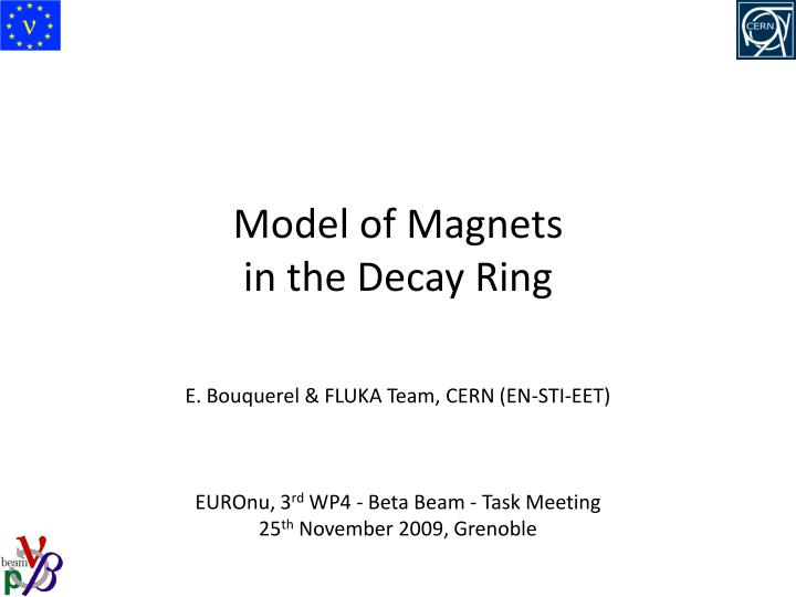 model of magnets in the decay ring n.