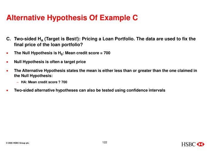 Alternative Hypothesis Of Example C
