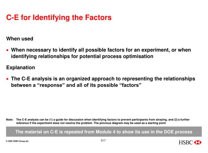 C-E for Identifying the Factors