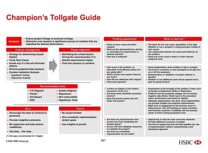 Champion's Tollgate Guide