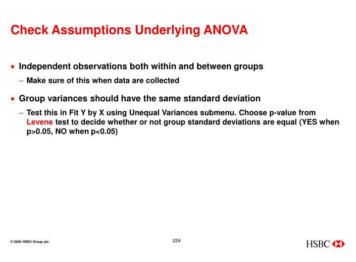 Check Assumptions Underlying ANOVA