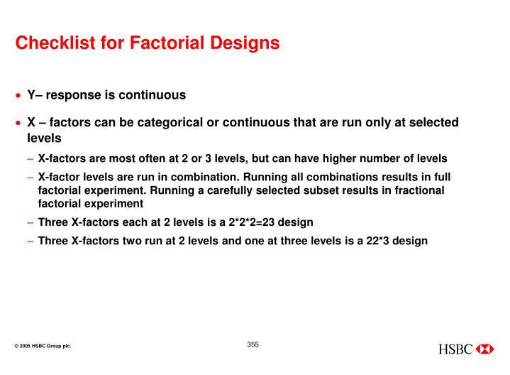 Checklist for Factorial Designs