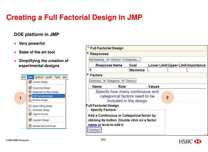 Creating a Full Factorial Design in JMP