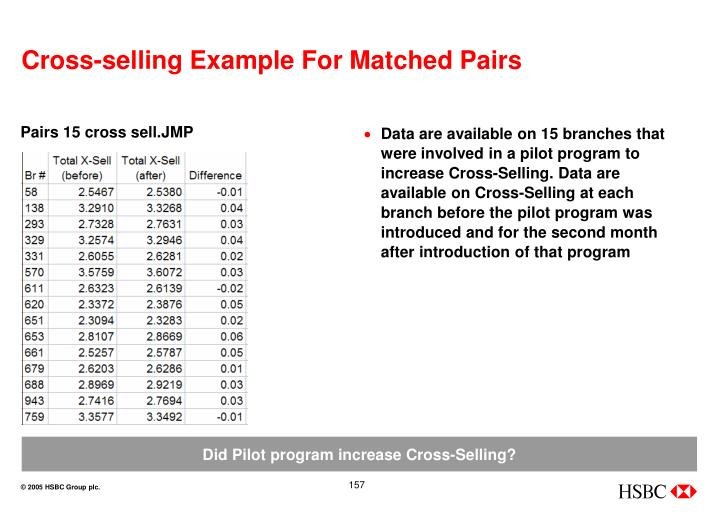 Cross-selling Example For Matched Pairs