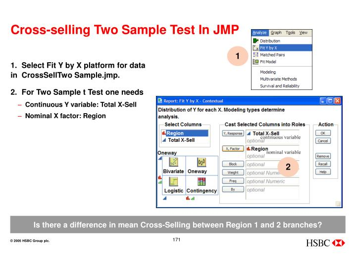 Cross-selling Two Sample Test In JMP