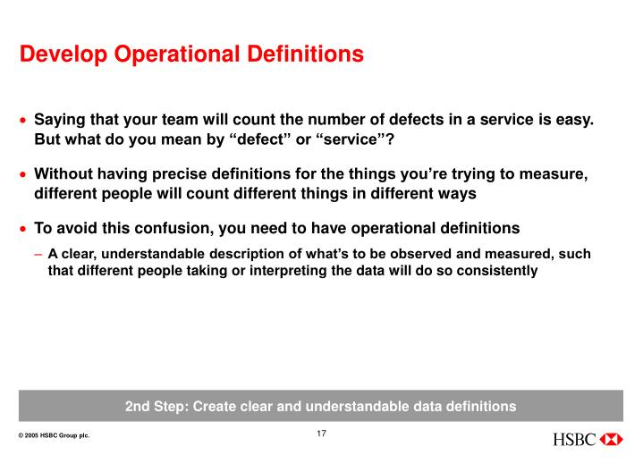 Develop Operational Definitions