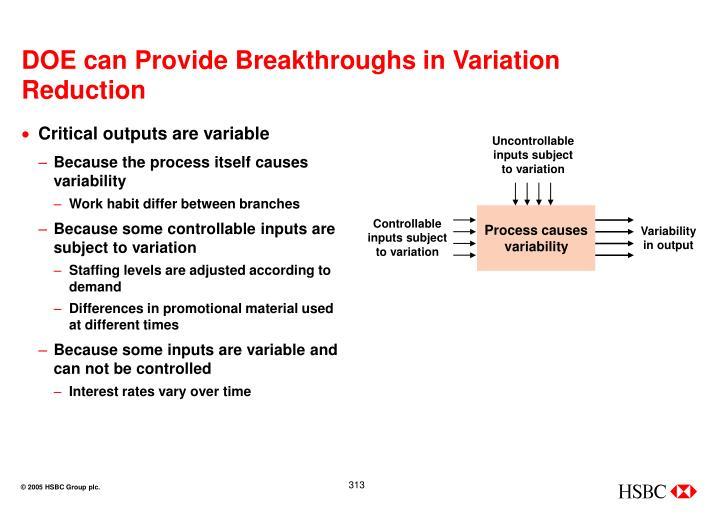 DOE can Provide Breakthroughs in Variation Reduction