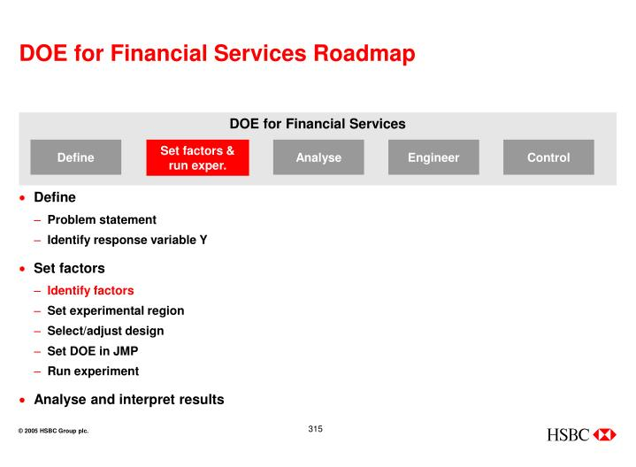DOE for Financial Services Roadmap