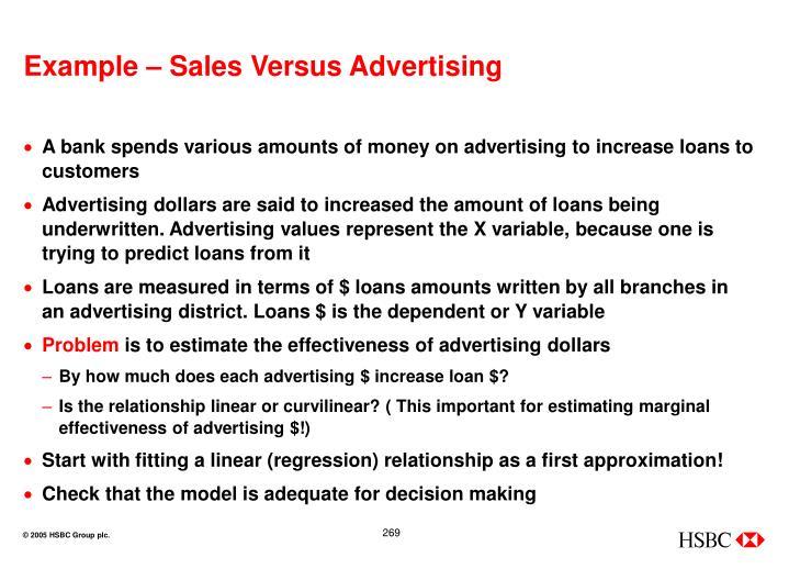 Example – Sales Versus Advertising