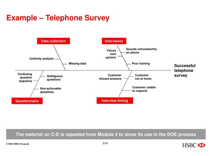Example – Telephone Survey