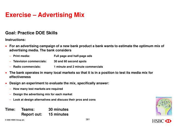 Exercise – Advertising Mix