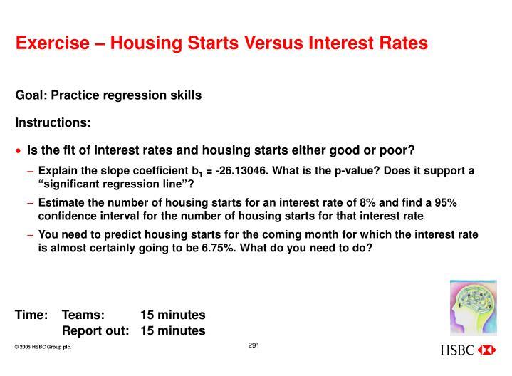 Exercise – Housing Starts Versus Interest Rates