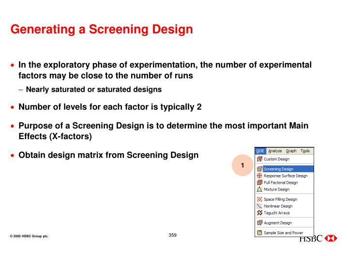 Generating a Screening Design