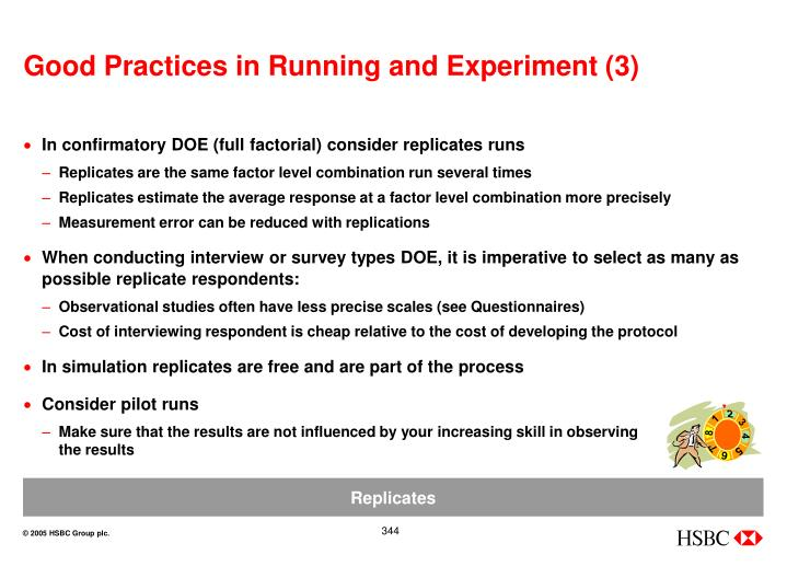 Good Practices in Running and Experiment (3)