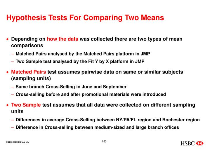 Hypothesis Tests For Comparing Two Means