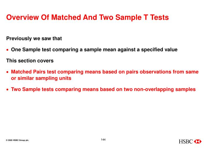 Overview Of Matched And Two Sample T Tests