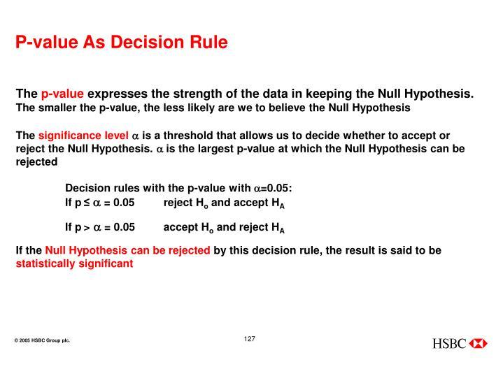 P-value As Decision Rule
