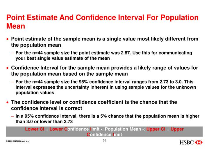 Point Estimate And Confidence Interval For Population Mean