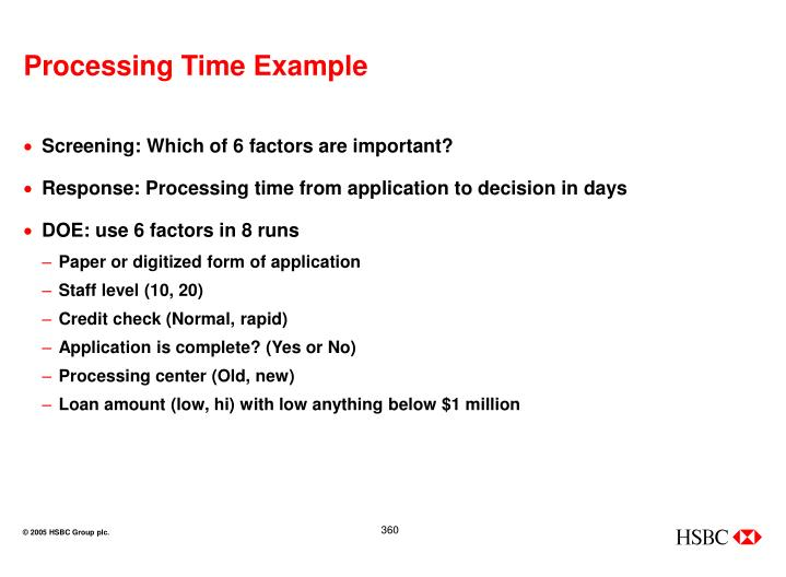 Processing Time Example