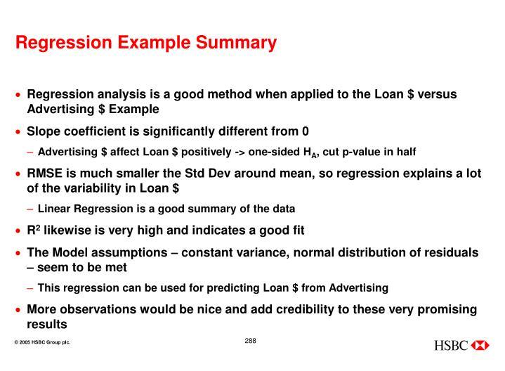 Regression Example Summary