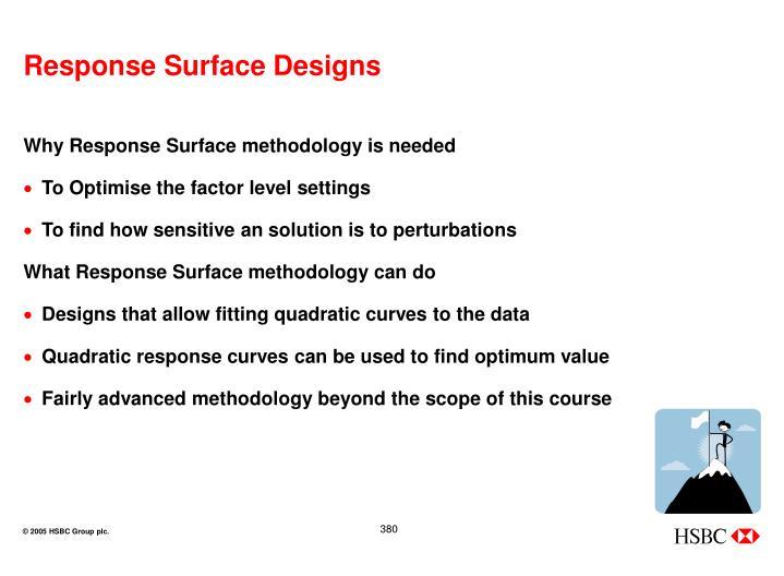 Response Surface Designs