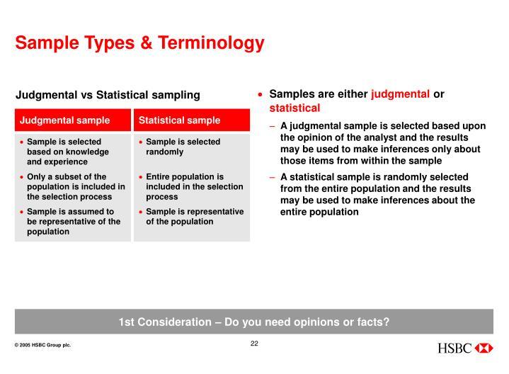 Sample Types & Terminology