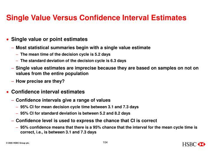 Single Value Versus Confidence Interval Estimates