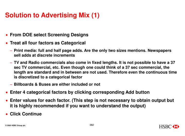 Solution to Advertising Mix (1)