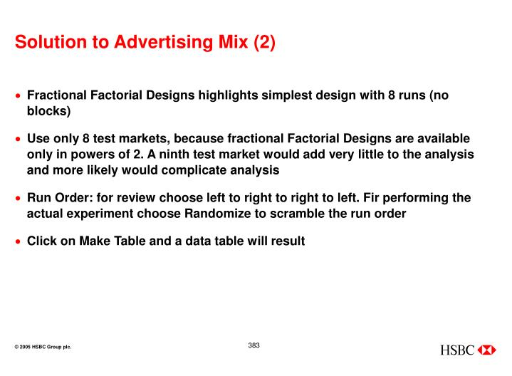 Solution to Advertising Mix (2)