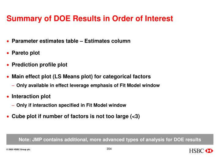 Summary of DOE Results in Order of Interest