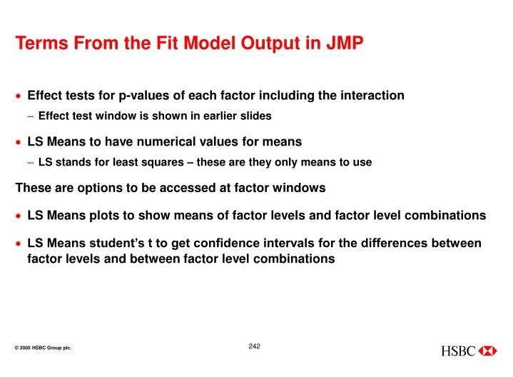 Terms From the Fit Model Output in JMP