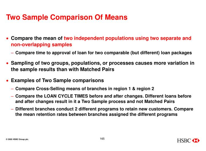 Two Sample Comparison Of Means