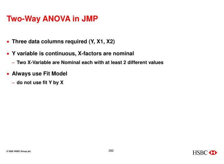 Two-Way ANOVA in JMP