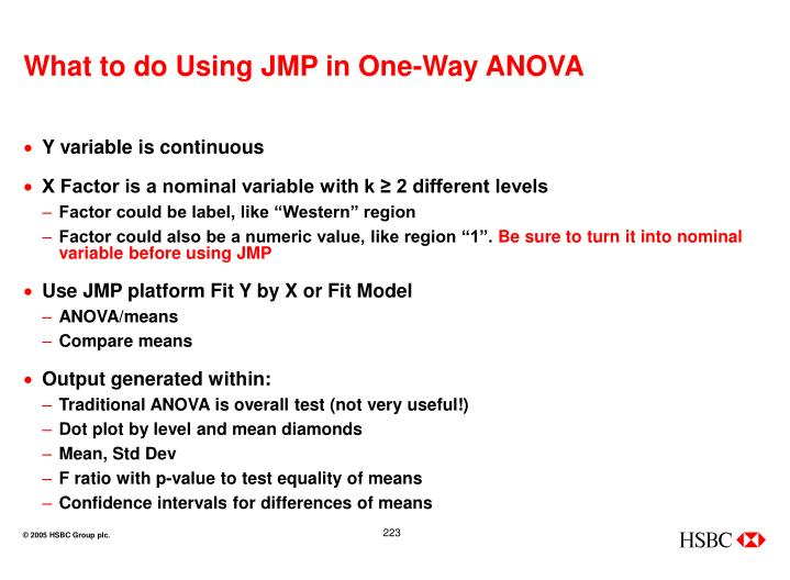 What to do Using JMP in One-Way ANOVA