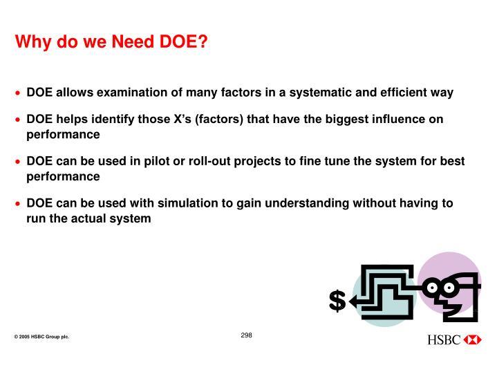 Why do we Need DOE?