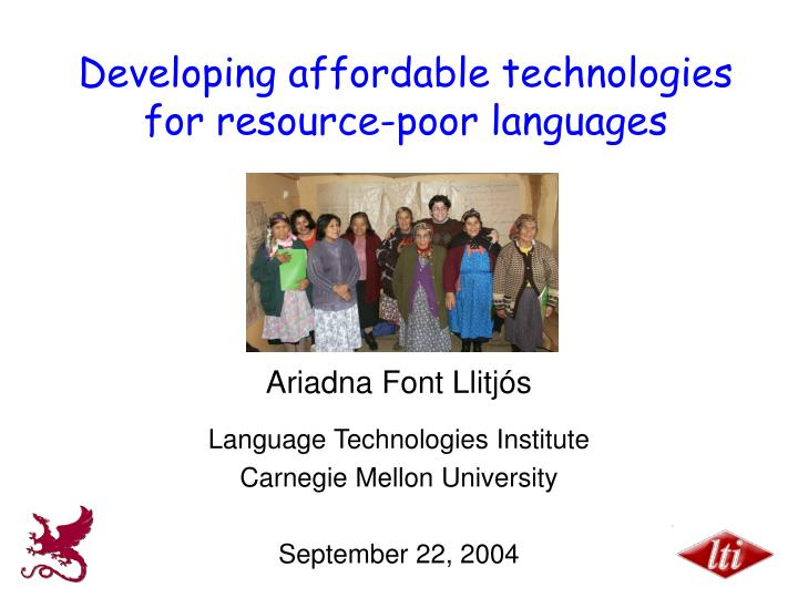 developing affordable technologies for resource poor languages n.