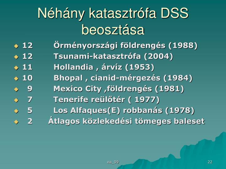 Néhány katasztrófa DSS beosztása