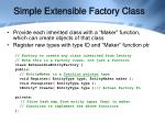 simple extensible factory class