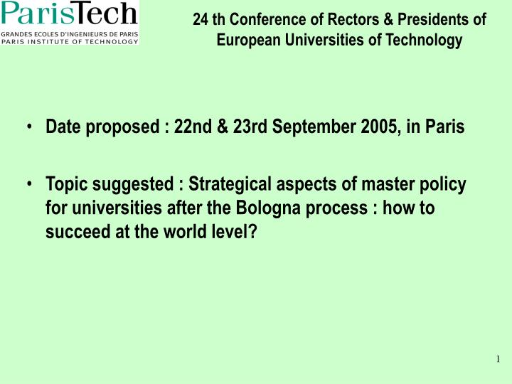 24 th conference of rectors presidents of european universities of technology n.