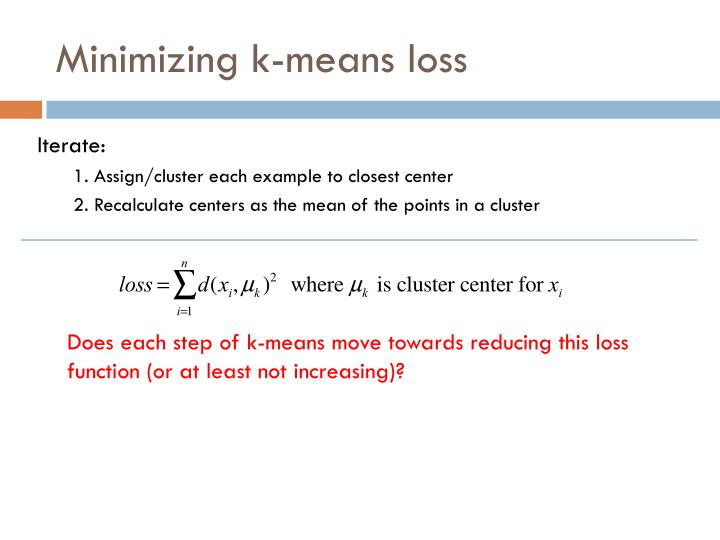 Minimizing k-means loss