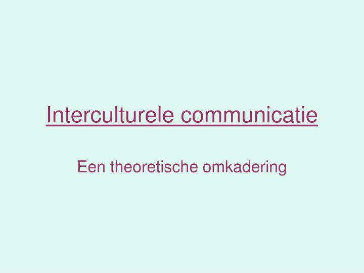 interculturele communicatie n.