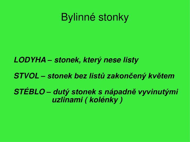LODYHA – stonek, který nese listy