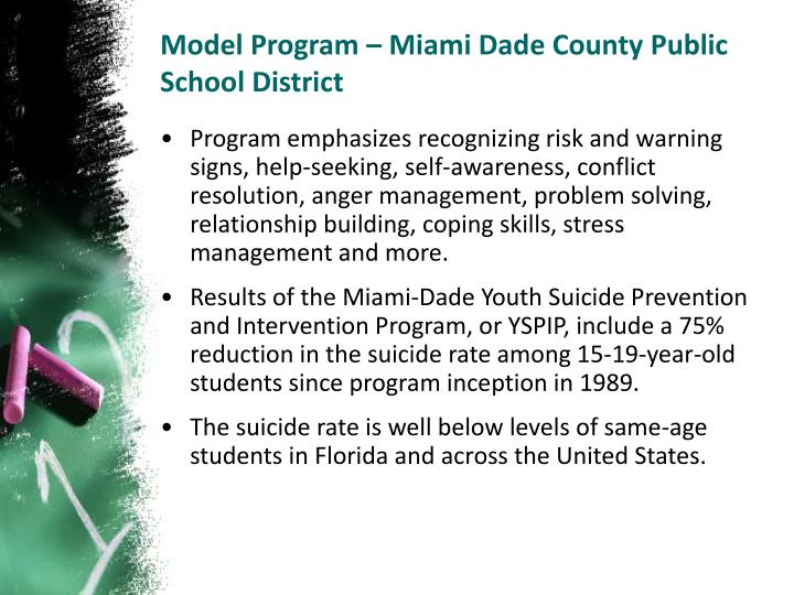 Model Program – Miami Dade County Public School District