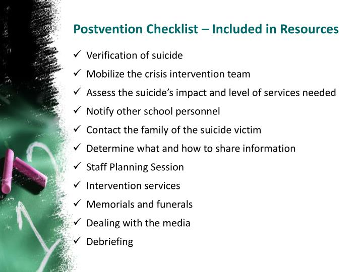 Postvention Checklist – Included in Resources