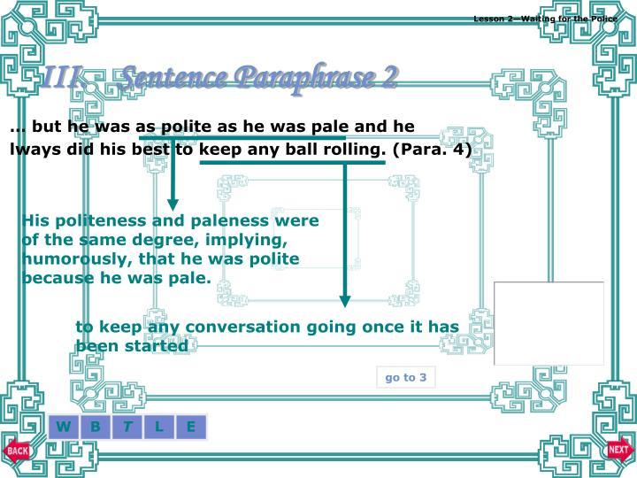 Sentence Paraphrase 2