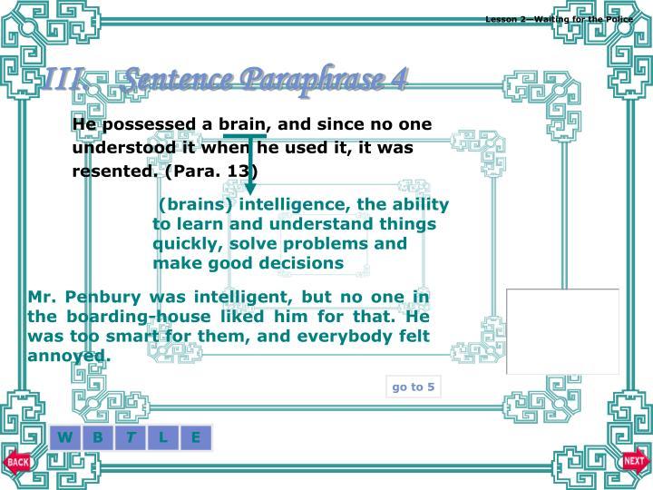 Sentence Paraphrase 4
