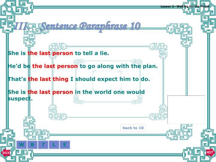 Sentence Paraphrase 10