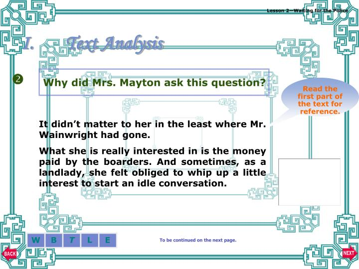 Why did Mrs. Mayton ask this question?