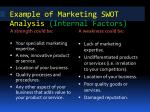 example of marketing swot analysis internal factors
